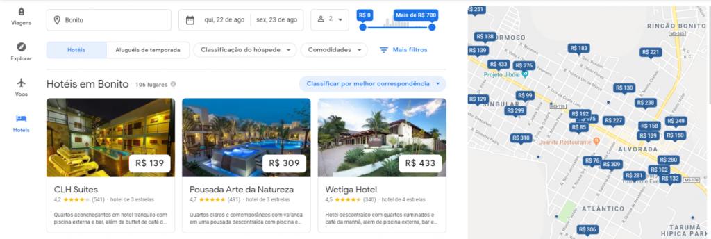 Tela de resultados para uma busca no Google Hotel Search - Agosto 2019