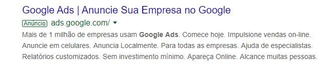 Anúncio de Texto Google Ads