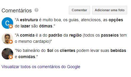 Campo de avaliações no Google Meu Negócio