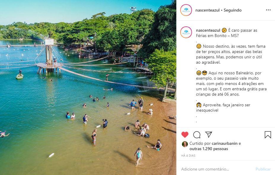 Instagram de Hotel e Turismo - Nascente Azul - Exemplo 1