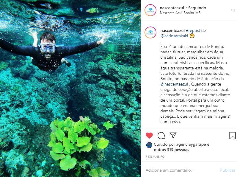 Instagram de Hotel e Turismo - Nascente Azul - Exemplo 2