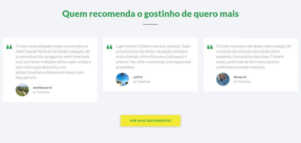 Exemplo site hoteleiro - Portal do Sol - Depoimentos
