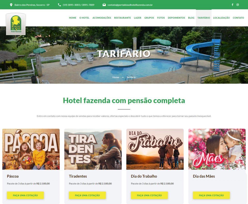 Exemplo site hoteleiro - Portal do Sol