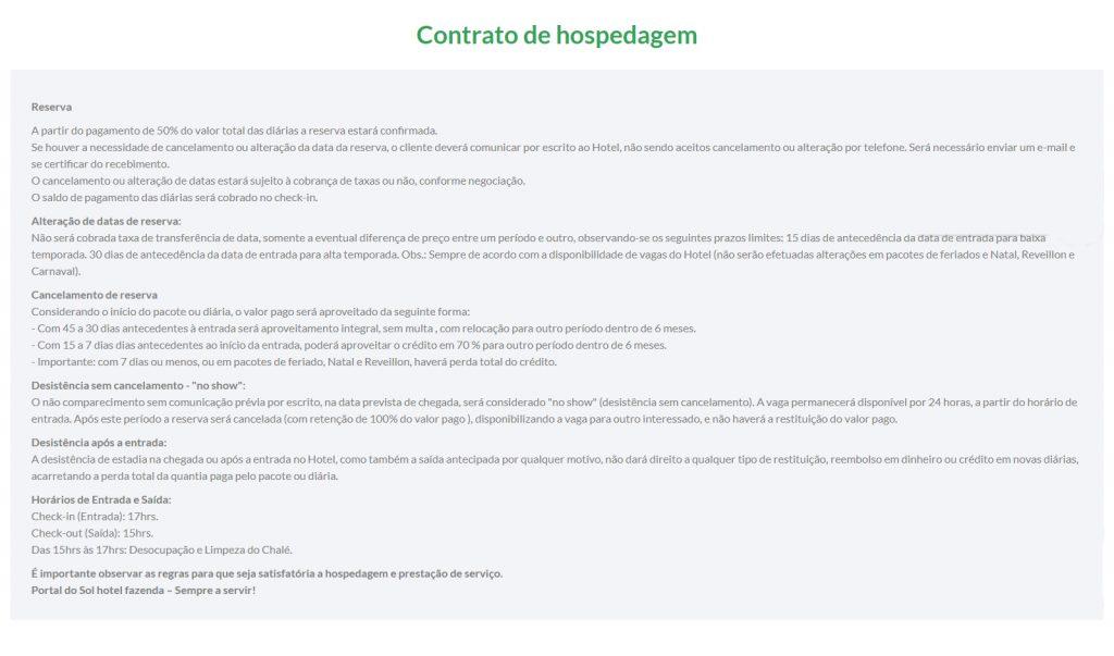 Exemplo site hoteleiro - Portal do Sol - Termos