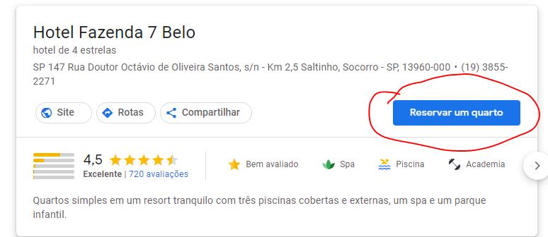 Funcionalidade reservar um quarto Google Hotel Ads